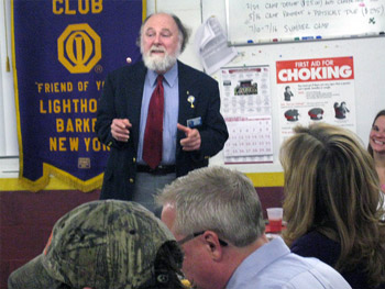 Wilson Lions Club President Steve Smith updates the Barker Lions